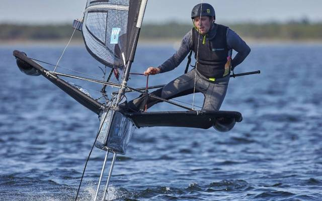 Royal Cork's David Kenefick competing at the Moth Europeans
