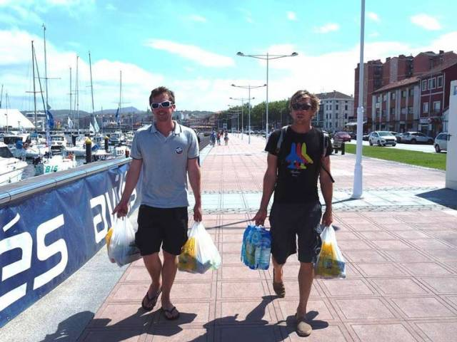 Tom Dolan (left) stocks up for tomorrow's Transatlantic voyage