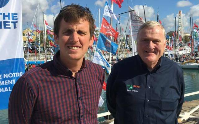 Tom Dolan (left) and Jack Roy at today's mini-reception to wish Dolan 'Bon Voyage' in his Mini Transat bid. There are 4,050 miles to cover between La Rochelle – Las Palmas in Gran Canaria and Le Marin (Martinique)
