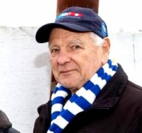 Involved to the end. The late Fred Espey in his eighties, fulfilling his longtime role as President and Chairman of the Sandycove Bathers Association. In addition to his many sailing roles, he was a lifelong swimmer at the Forty Foot, and an experienced diver