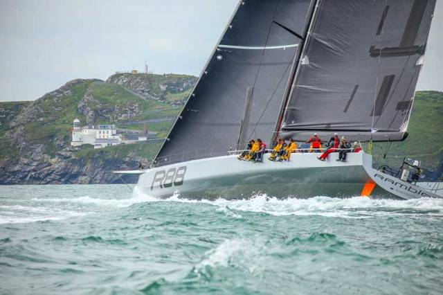 George David's all-conquering Rambler 88 at Wicklow Head shortly after the start of the Volvo Round Ireland Race 2016. 2018's staging of this biennial classic will be the 20th edition, and its international significance is recognized with bonus points for the RORC Championship
