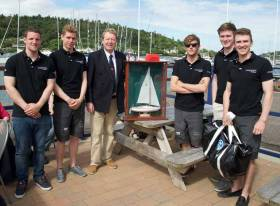 2016 J/24 Southern Champions Kilcullen, presented with the Frank Heath Trophy by Royal Cork Yacht Club Admiral John Roche. The Howth Yacht Club K25 crew are 'over age' this year so Kilcullen will be sailed under a new crew at this year's event
