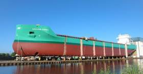Arklow Abbey was launched at Ferus-Smit's Dutch shipyard at Westerbroek this morning as the first of six slightly modified sisters of the 'B' class.