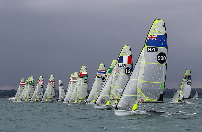 The 78-boat 49er World Championship fleet in Geelong