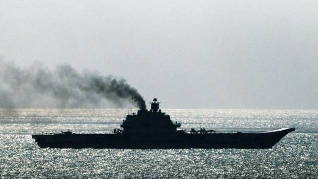 Time to clean the injectors? The powerful Russian aircraft carrier Admiral Kuznetsov may have created unhealthy amounts of smoke with her troublesome engines as she headed through the English Channel, but this is still one formidable fighting machine.