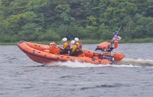 Lough Ree RNLI's lifeboat crew shortly after launch