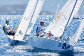 Robert O'Leary (left, bow number 61) competing at the Star World Championship in Italy