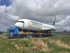 The Boeing 767 ready for lifting onto the barge at Knockbeg Point