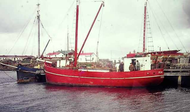 The inter-island communications vessels Ilen (left) and Penelope in the Falkland Islands in 1977. The Irish-designed-and-built Ilen was always reckoned slightly faster than the German-built Penelope, even when Ilen's skipper and youngest commander, the 16-year-old Stephen Clifton, was still learning the ropes