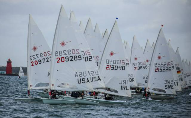 The scene seconds before the start of a Laser Master Worlds race at Dun Laoghaire