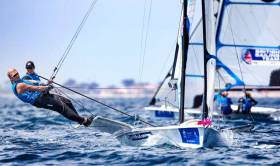 Saskia Tidey crewing for Team GB's Charlotte Dobson in Hyeres