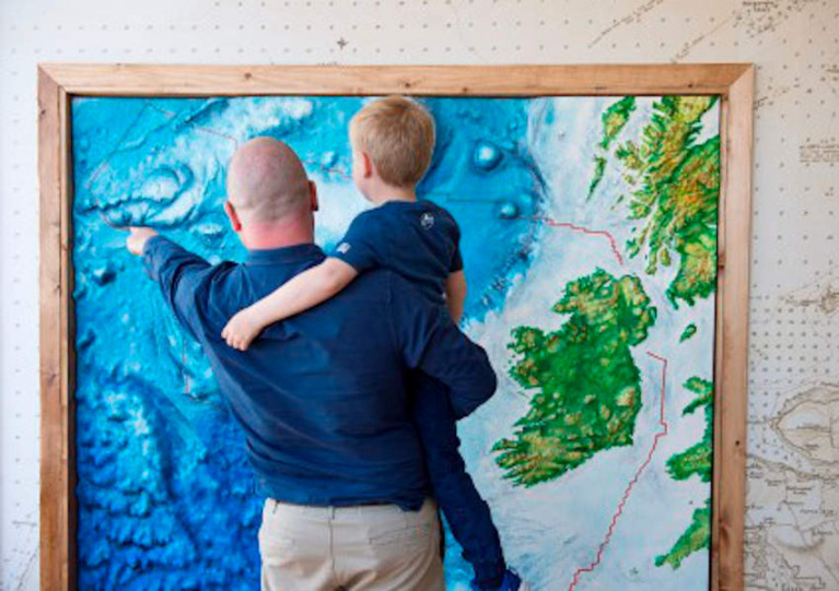 Graham Johnston and son Hugo explore the sea science gallery at Galway City Museum at its opening in 2017