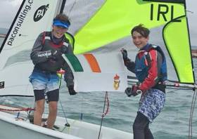 Tim Norwood and Finn Cleary pictured at the RS Feva Europeans in Weymouth last month, where they came fourth in the Silver fleet