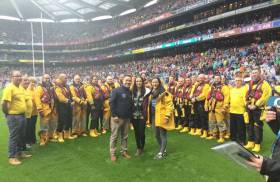 RNLI lifeboat crews on the pitch at Croke Park