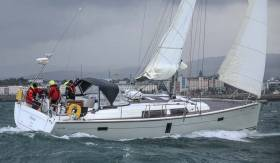 The new Hanse 445. Derek Matthews Pleoine of Dee, ECHO overall winner in today's ISORA Holyhead-Dun Laoghaire race, is the first of this marque in local waters.