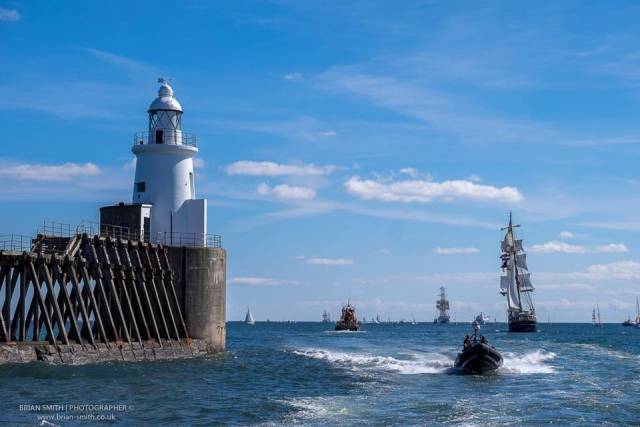 Pierhead at Blyth, the UK port in north-east England hosted the North Sea Tall Ships Race regatta's Parade of Sail, followed by the 500nm leg to Gothenburg, Sweden