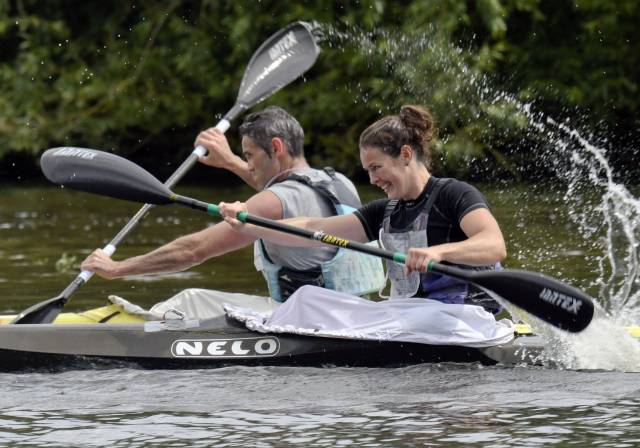 Jenny Egan and Peter Egan in Same Boat for Liffey Descent