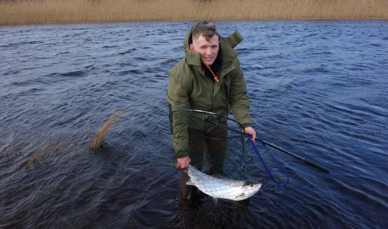 "Nash Mc Daid, of Ballybofey, Donegal landed the first catch and release salmon at the ""point of the meadow"" on the River Drowes at 2.45pm, Friday the 14th of February"