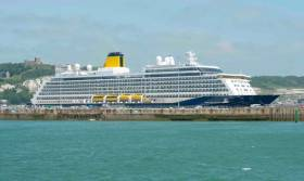 Saga Cruises first custom-built cruiseship, Spirit of Discovery docked at the UK's busiest ferryport, Dover, where the newbuild departed from the Kent port last week on a maiden cruise of the UK and Ireland including today's first visit to Dublin Port.