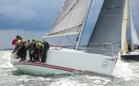 Stormin'– Pat Kelly leads the J109 Nationals at the Royal Irish YC