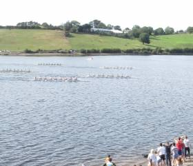 Commercial (middle) about to win the senior eights from fast-finishing Skibbereen and NUIG (top)