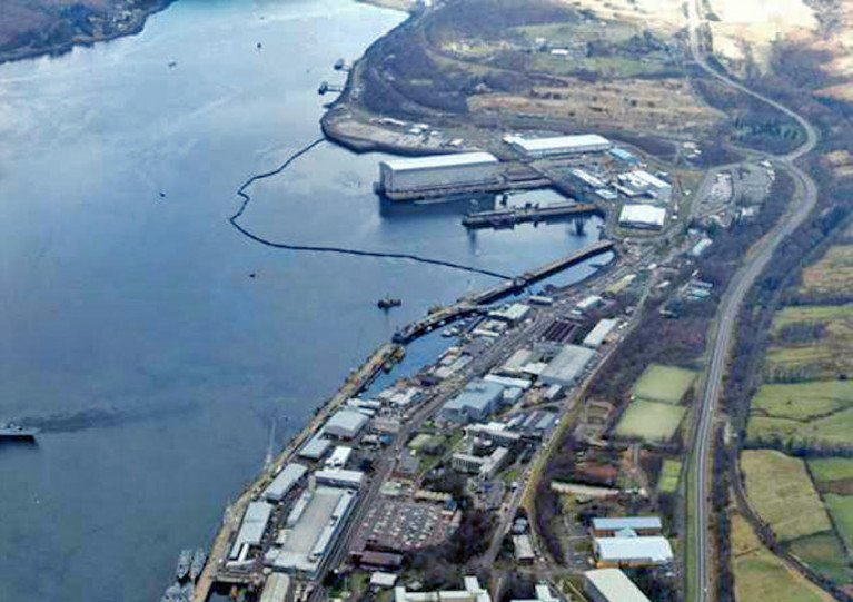 The Clyde naval base at Faslane in Loch Gare
