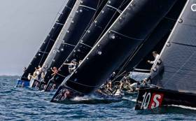 The RC44 fleet lines up for the start of practice racing off Marstrand