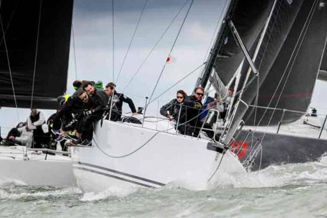 Close racing in the RORC Easter Challenge. Roger Bowden's King 40, Nifty (ex-Tokoloshe 1), claimed first overall in IRC One