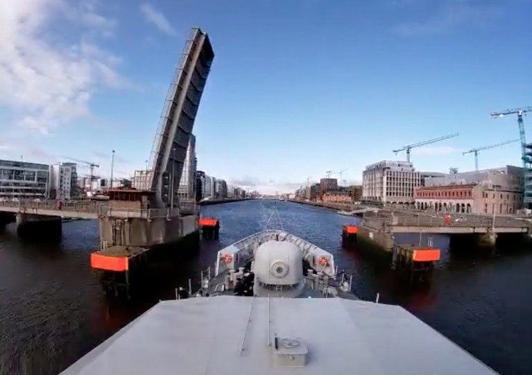 LÉ Samuel Beckett about to pass the East-Link/Tom Clarke Bridge into Dublin this morning