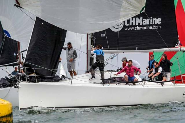 Rob McConnell's A34 Fools Gold from Waterford Harbour Sailing Club is fifth in 12–boat Division three of the IRC European Championships in Cowes