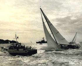 Gordon Ingate's Robert Clark-designed classic Caprice of Huon slicing through Cowes Roads to win the Britannia Cup in Cowes Week 1965, when she also won the New York Yacht Club Cup, and the RORC Channel Race overall.