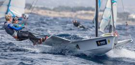 Andrea Brewster and Saskia Tidey in action in the 49erfx in Palma this afternoon