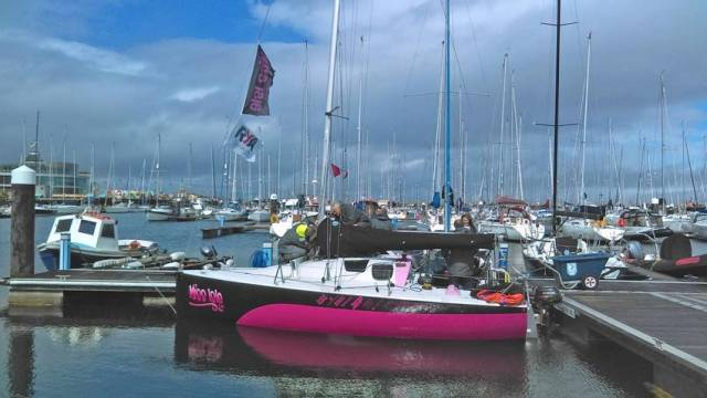 Natasha Lambert's specially adapted yacht Miss Isle berthed at Dun Laoghaire Marina yesterday