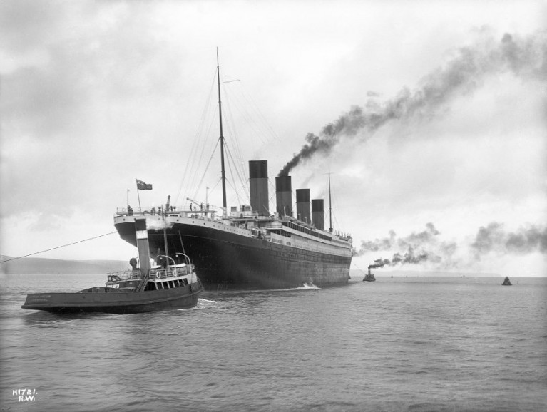 RMS Titanic leaving Belfast for sea trials on 2 April 1912