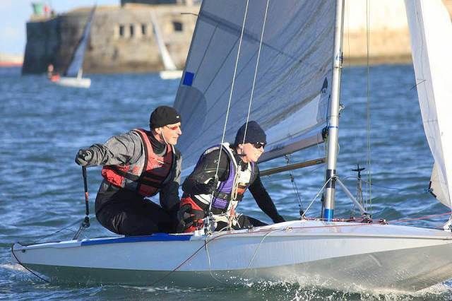 Alistair Court & Gordon Syme take a tack at the Dun Laoghaire Fireball Frostbites