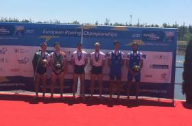 Ireland (Paul and Gary O'Donovan), France and Italy on the medal podium.