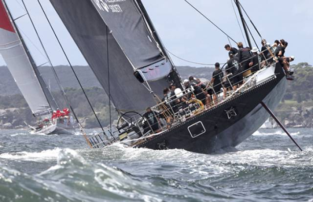 Wild Oats XI (left) and Comanche competing in a previous Rolex Sydney Hobart