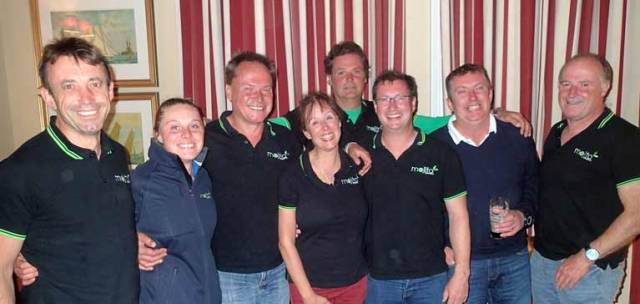 Vicky Cox and Peter Dunlop (with spectacles) in the midst of Mojito's crew in the National YC after winning the ISORA Championship 2017