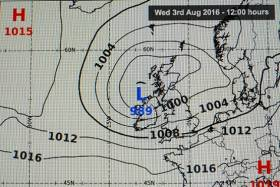 Currently at Tory island, the low's central pressure has already risen from 987 to 989