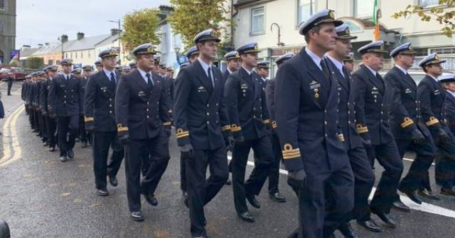 Officers of the Argentinian Navy on parade through Foxford in Co Mayo to Honour Admiral William Brown - founder of the south American nations' navy