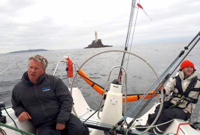 Now how on earth did they do that? Noel Butler helms the J/109 Outrajeous through the light spots after passing the Fastnet Rock while skipper Johnny Murphy ponders his options on how to get back into battle with the Shanahan family, who have just made a swift move to get ahead with sister-ship Ruth.