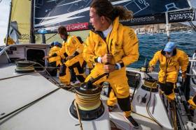 On deck with the hard-working crew of Turn The Tide on Plastic — among them Annalise Murphy — at the Leg 1 start in Alicante