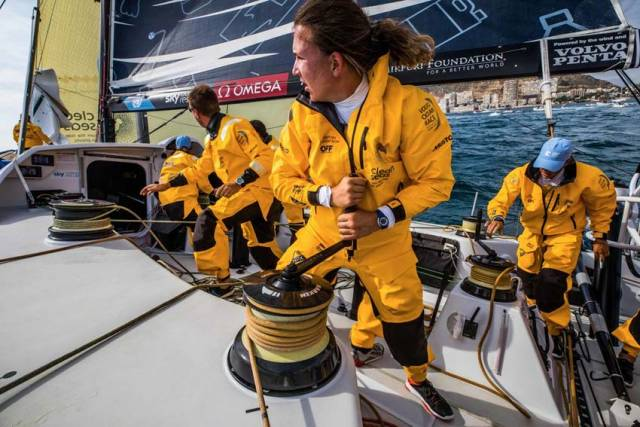 Watch As Annalise Murphy's Volvo Ocean Race Boat Narrowly Avoids Disaster At The Start