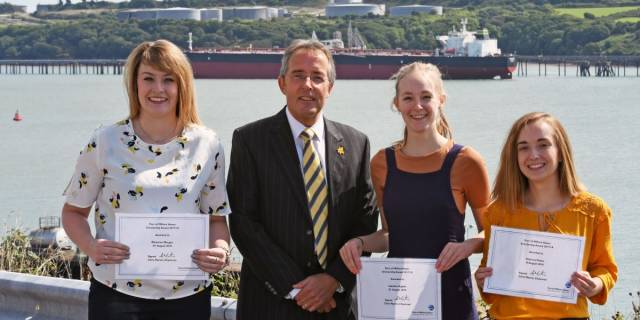 Scholarship students: Rhiannon Morgan, Chris Martin (Chairman, Port of Milford Haven) Isabelle Hughes and Rebecca Foster