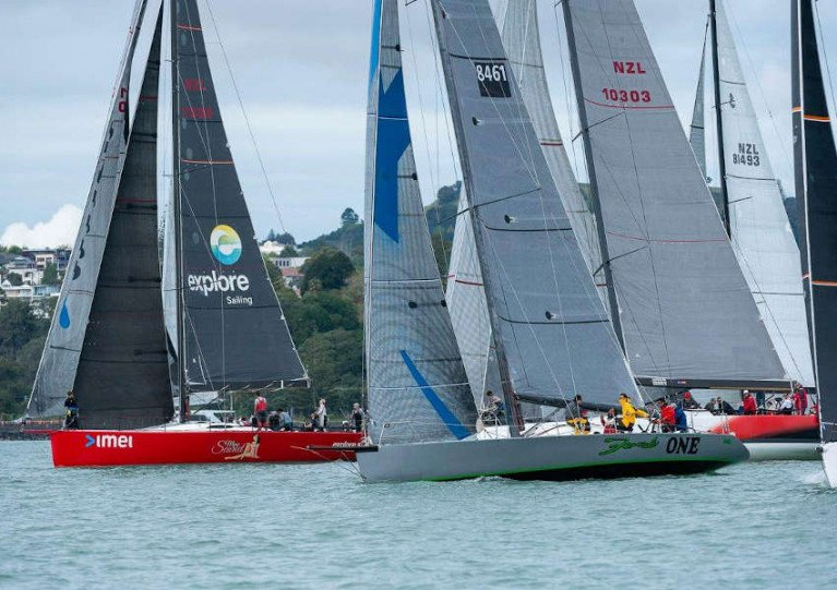 Miss Scarlet, with Mia Connolly on crew, with the fleet in this past weekend's PIC Coastal Classic in New Zealand