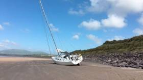 The yacht beached near Waterville, Co Kerry, as seen earlier today