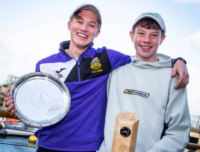 2018 All-Ireland Junior Champion Atlee Kohl (Royal Cork YC) with his crew Jonathan O'Shaughnessy