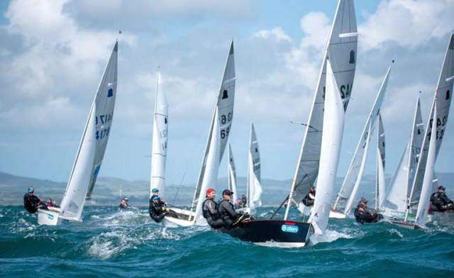 GP14s converge at a weather mark on day two of the national championships in Abersoch