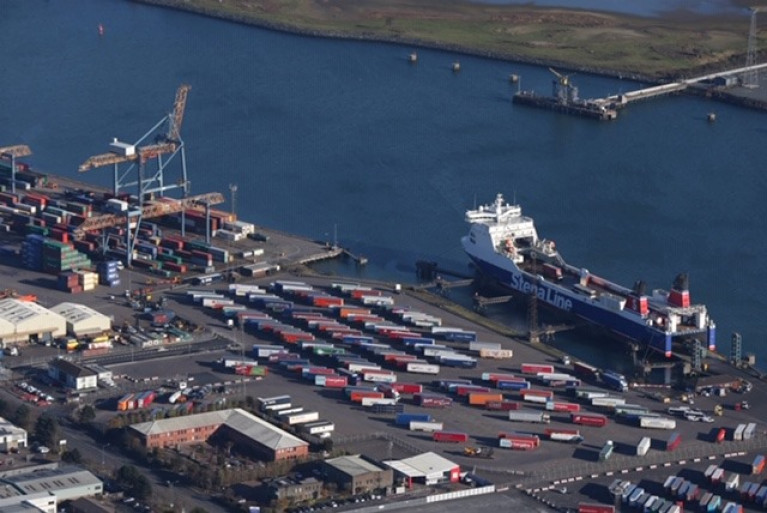 Brexit Checks won't be ready until mid-2021 says Stormont Minister. Above: a RoRo freight ferry berthed at the VT2 Terminal in Belfast Harbour, one of five ports in the north.