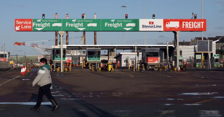 Brexit and the deal struck by the UK Government means physical checks are required on certain goods entering the UK from the EU. Above freight-check in kiosks (Irish Ferries and Stena Line) at the Port of Holyhead.